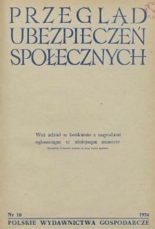 Przegląd Ubezpieczeń Społecznych : 1954, nr 10
