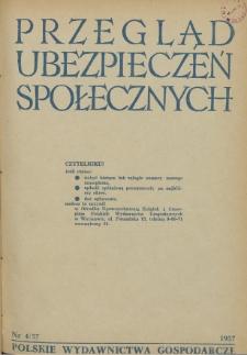 Przegląd Ubezpieczeń Społecznych : 1957, nr 4