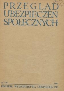 Przegląd Ubezpieczeń Społecznych : 1958, nr 7