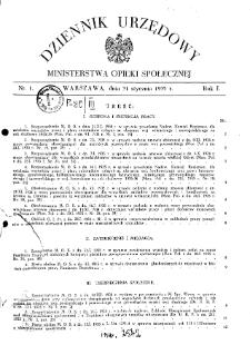 Dziennik Urzędowy Ministerstwa Opieki Społecznej : 1935, nr 1