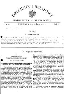 Dziennik Urzędowy Ministerstwa Opieki Społecznej : 1935, nr 2