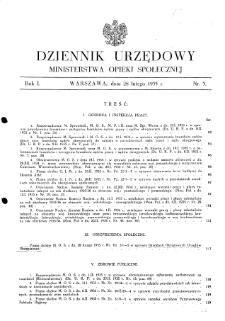 Dziennik Urzędowy Ministerstwa Opieki Społecznej : 1935, nr 3