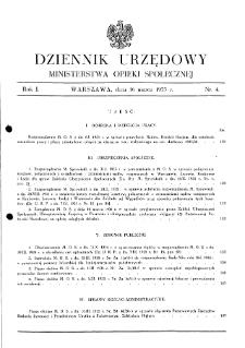 Dziennik Urzędowy Ministerstwa Opieki Społecznej : 1935, nr 4