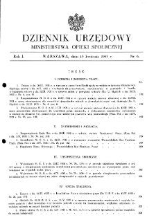 Dziennik Urzędowy Ministerstwa Opieki Społecznej : 1935, nr 6