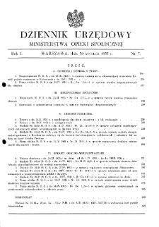 Dziennik Urzędowy Ministerstwa Opieki Społecznej : 1935, nr 7