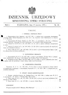 Dziennik Urzędowy Ministerstwa Opieki Społecznej : 1935, nr 10