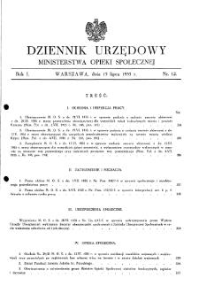 Dziennik Urzędowy Ministerstwa Opieki Społecznej : 1935, nr 12