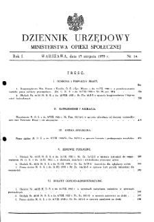 Dziennik Urzędowy Ministerstwa Opieki Społecznej : 1935, nr 14
