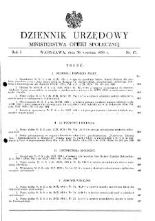 Dziennik Urzędowy Ministerstwa Opieki Społecznej : 1935, nr 17