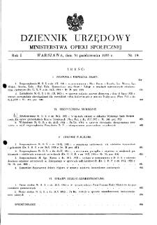 Dziennik Urzędowy Ministerstwa Opieki Społecznej : 1935, nr 19