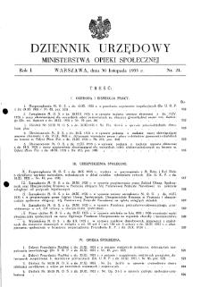 Dziennik Urzędowy Ministerstwa Opieki Społecznej : 1935, nr 21