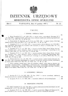 Dziennik Urzędowy Ministerstwa Opieki Społecznej : 1935, nr 22
