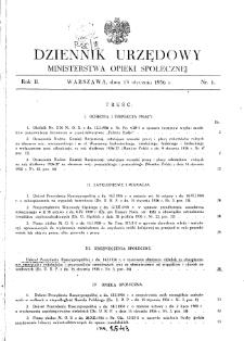 Dziennik Urzędowy Ministerstwa Opieki Społecznej : 1936, nr 1