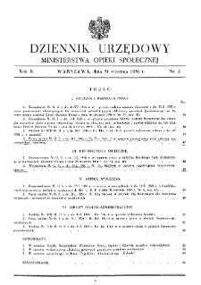 Dziennik Urzędowy Ministerstwa Opieki Społecznej : 1936, nr 2