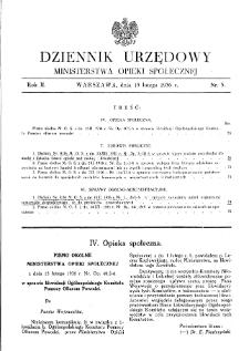 Dziennik Urzędowy Ministerstwa Opieki Społecznej : 1936, nr 3