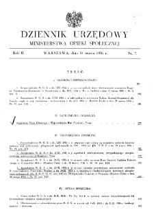 Dziennik Urzędowy Ministerstwa Opieki Społecznej : 1936, nr 7