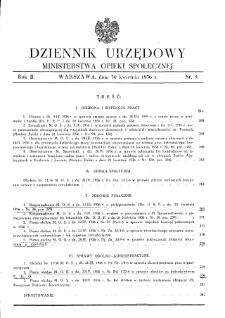 Dziennik Urzędowy Ministerstwa Opieki Społecznej : 1936, nr 9