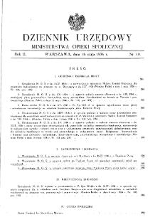 Dziennik Urzędowy Ministerstwa Opieki Społecznej : 1936, nr 10