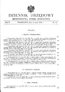 Dziennik Urzędowy Ministerstwa Opieki Społecznej : 1936, nr 14