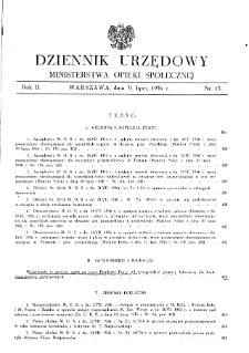 Dziennik Urzędowy Ministerstwa Opieki Społecznej : 1936, nr 15