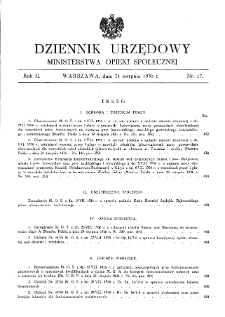 Dziennik Urzędowy Ministerstwa Opieki Społecznej : 1936, nr 17