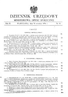 Dziennik Urzędowy Ministerstwa Opieki Społecznej : 1936, nr 19