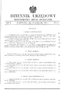 Dziennik Urzędowy Ministerstwa Opieki Społecznej : 1936, nr 21