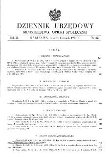 Dziennik Urzędowy Ministerstwa Opieki Społecznej : 1936, nr 22