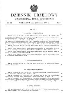 Dziennik Urzędowy Ministerstwa Opieki Społecznej : 1937, nr 8