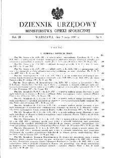 Dziennik Urzędowy Ministerstwa Opieki Społecznej : 1937, nr 9