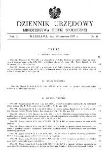 Dziennik Urzędowy Ministerstwa Opieki Społecznej : 1937, nr 12