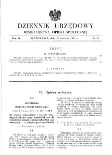 Dziennik Urzędowy Ministerstwa Opieki Społecznej : 1937, nr 13