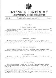 Dziennik Urzędowy Ministerstwa Opieki Społecznej : 1937, nr 14