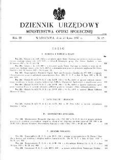 Dziennik Urzędowy Ministerstwa Opieki Społecznej : 1937, nr 15