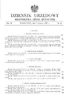 Dziennik Urzędowy Ministerstwa Opieki Społecznej : 1937, nr 16
