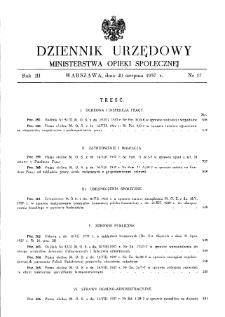 Dziennik Urzędowy Ministerstwa Opieki Społecznej : 1937, nr 17