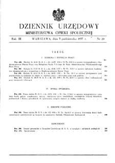 Dziennik Urzędowy Ministerstwa Opieki Społecznej : 1937, nr 20