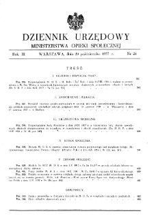 Dziennik Urzędowy Ministerstwa Opieki Społecznej : 1937, nr 21
