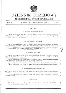 Dziennik Urzędowy Ministerstwa Opieki Społecznej : 1938, nr 1