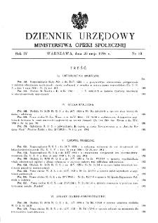 Dziennik Urzędowy Ministerstwa Opieki Społecznej : 1938, nr 10