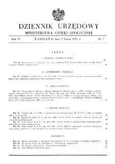 Dziennik Urzędowy Ministerstwa Opieki Społecznej : 1938, nr 3