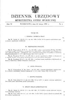 Dziennik Urzędowy Ministerstwa Opieki Społecznej : 1938, nr 4