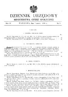 Dziennik Urzędowy Ministerstwa Opieki Społecznej : 1938, nr 5