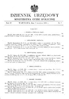 Dziennik Urzędowy Ministerstwa Opieki Społecznej : 1938, nr 7