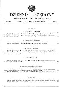 Dziennik Urzędowy Ministerstwa Opieki Społecznej : 1938, nr 12
