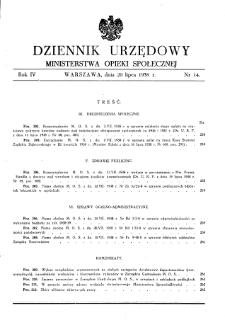 Dziennik Urzędowy Ministerstwa Opieki Społecznej : 1938, nr 14