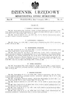 Dziennik Urzędowy Ministerstwa Opieki Społecznej : 1938, nr 15