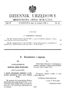 Dziennik Urzędowy Ministerstwa Opieki Społecznej : 1938, nr 16