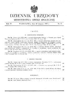 Dziennik Urzędowy Ministerstwa Opieki Społecznej : 1938, nr 17
