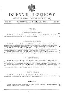 Dziennik Urzędowy Ministerstwa Opieki Społecznej : 1938, nr 20